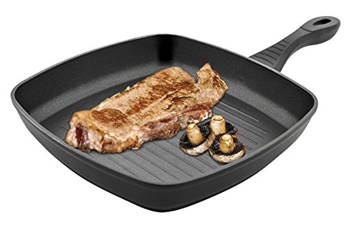 Jata Hogar Grill con Cuerpo, Aluminio Forjado, Negro, 28 cm