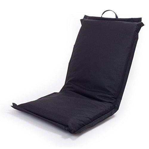 Ampel 24 Outdoor Sitzkissen Festival mit Verstellbarer Rückenlehne, Bodenkissen wasserundurchlässig beschichtet, Meditationskissen schwarz