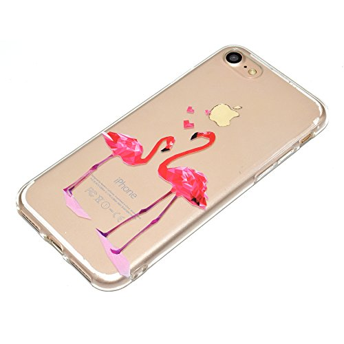 Sycode Custodia per iPhone 8 Plus 5.5,Cover per iPhone 7 Plus 5.5,Silicone Trasparente Case per iPhone 8 Plus/7 Plus 5.5,Liquido Cristallo Chiaro Carina Divertente Motivo Cartone Elefante Delfino i Rosa Fenicotteri