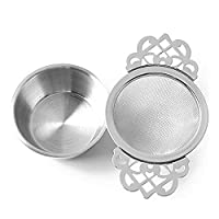 Yzki Tea Filter, Stainless Steel Tea Strainer with Bowl, Lace Double Handles Traditional Loose Leaf Tea Strainer Ultra Fine Mesh Tea Infuser (silver)