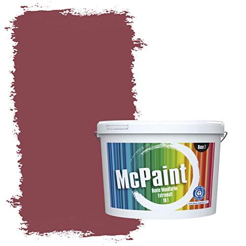 McPaint Bunte Wandfarbe extramatt für Innen Kaminrot 5 Liter - Weitere Rote Farbtöne Erhältlich - Weitere Größen Verfügbar