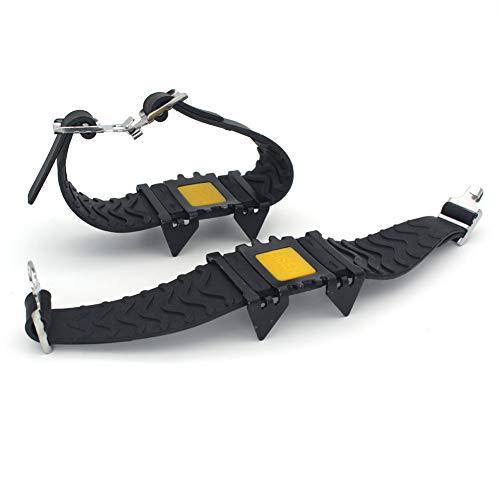 Crampons – Buena elasticidad, resistencia a la abrasión, con 4 tacos de tracción de dientes, correas ajustables, calzado antideslizante, clavos de nieve y hielo para exterior/senderismo/escalada