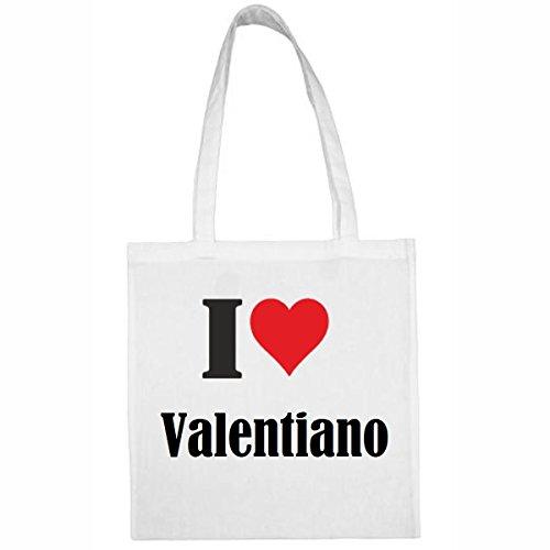 """Tasche""""I Love Valentiano""""Größe""""38x42""""Farbe""""Weiss""""Druck""""Schwarz"""