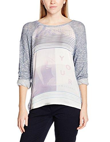 edc by ESPRIT Damen 126CC1K073 Langarmshirt, Mehrfarbig (Grey Blue 5 424), 36 (S) Metallic-print-sweatshirt