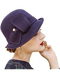 7d5e2bb08a8 Felt Bowler Hat wiht Pearl Vintage Wool Winter Fedora Hat up Brim Cloche  Hat Derby