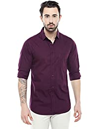 Dennis Lingo Men's Cotton Purple Solid Casual Shirt
