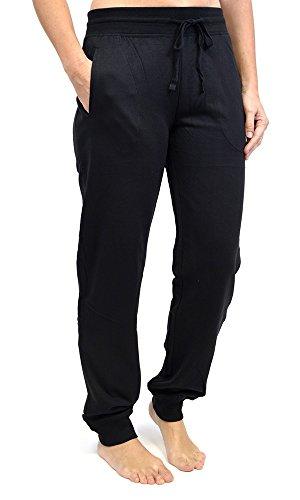 Tom Franks Pantalon de Jogging Yoga Gym Femme (Manchesttes Elastiques) Noir