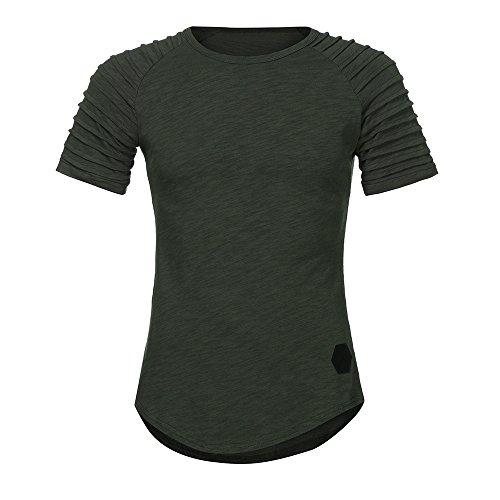VEMOW Heißer Sommer Männer Sport T-Shirt Slim Fit O-Ausschnitt Kurzarm Muscle Cotton Casual Täglichen Training Tops Bluse Shirts(Grün, EU-46/CN-M)