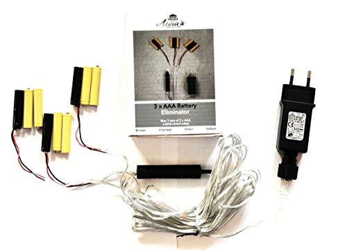 Coen Bakker Batterie Netzteil Adapter 3x3 AAA Micro Batterien 4,5V Wandler 4m Kabel Netzteil -