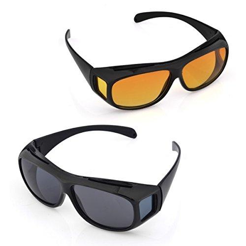 Velkro New HD vision wraparounds sunglasses/night vision glasses combo pack...