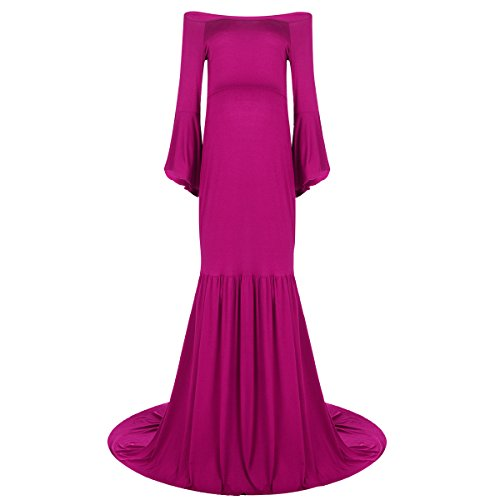 Women Pregnants Dress, Ladies Long Maternity Evening Photography Props Dresses Cowl Neck Sexy Off Shoulders Ruffle Sleeve Mermaid Dress for Pregnancy Baby Shower Wedding Gown Hot Pink
