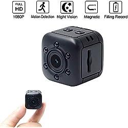 Mini Caméra Cachée LXMIMI 1080P HD Caméra Espion avec Vision Nocturne Infrarouge et Détection de Mouvement Surveillance de Sécurité par Aimant Intégré pour Maison,Voiture,Drone,Bureau,en Plein Air
