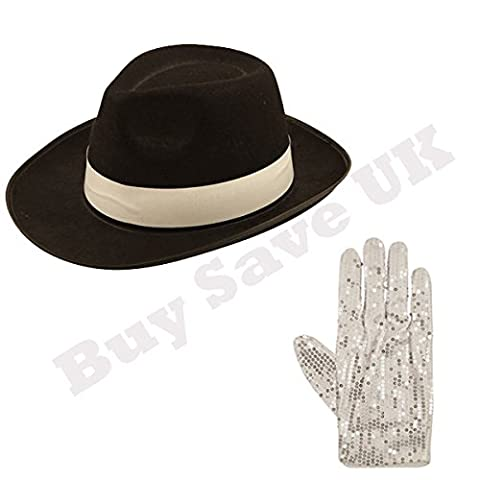 Childrens Kids Hat & Sequin Glove 1980s Fancy Dress Costume (Black with White Band)