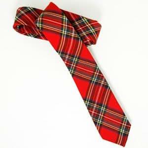 Pacotille Corner - Cravate femme rouge écossaise