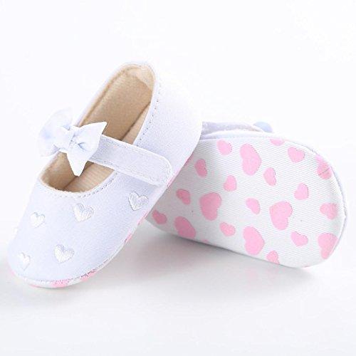 Babyschuhe Longra Baby Mädchen Bogen-Knoten Canvas Schuhe Sneaker rutschfest weiche Sohle Schuhe (0 ~ 18 Monate) White