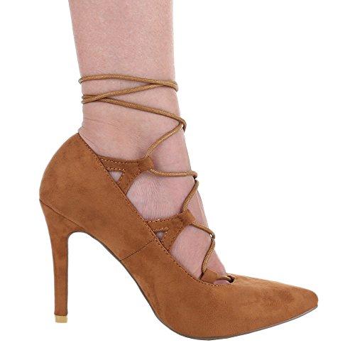 Damen-Schuhe Pumps | Frauen High Heels mit 10 cm Stiletto-Absatz in verschiedenen Farben und Größen | Schuhcity24 | mit Schnürung Camel
