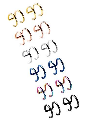 Cuff Ear Fake (12 Stücke Edelstahl Ohrknorpel Manschette Nicht Piercing Clip Ohrstulpe Ohrringe für Frauen und Männer, 6 Paar)