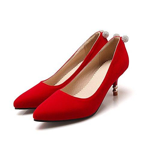 AllhqFashion Damen Ziehen Auf Spitz Zehe Mittler Absatz Nubukleder Eingelegt Pumps Schuhe Rot