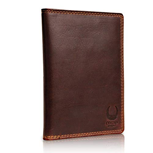 Leder Reisepasshülle mit RFID Schutz, schmales Reisepass-Etui Holder, Slim Passport Hülle als Schutzhülle braun Corno d´Oro CD101