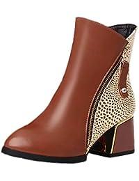 b65a47ef2e46 SANFAHION Bottines Femme Casual Bottes Boho Chic Chaussures à Lacets Mode  Martin Vintage
