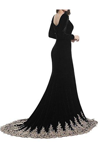 Sunvary Elegant Neu Langarm Stickerei 2016 Abendkleider Lang Mutterkleider Schleppe Violett