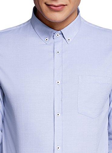 oodji Ultra Uomo Camicia Basic Slim Fit in Cotone Blu (7000O)
