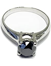 1.50Ct Round Black Diamond Claw Set Solitaire Engagement Ring in White Gold