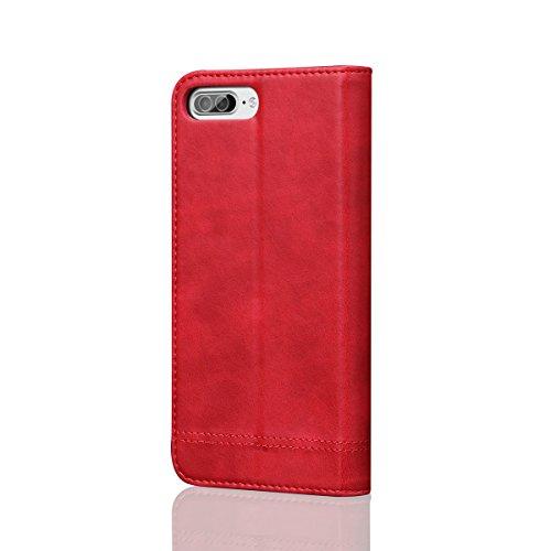 iPhone 7 Plus Handycover, LifeePro für iPhone 7 Plus Crazy Horse Pattern PU Leder Brieftasche Handycover mit Flip Stand Funktion Fotorahmen und Kartensteckplätze TPU Silikon Weiche Abdeckung Magnetver Rot