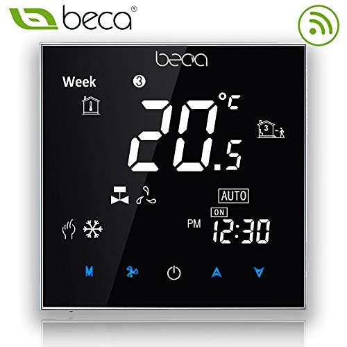 Beca 2000 Series Programmierbare Thermostat Zwei / Vier Rohr für Klimaanlage Fan Coil mit Wifi-Anschluss für die Unterstützung Intelligent Voice (Vier Pfeife, Schwarz)