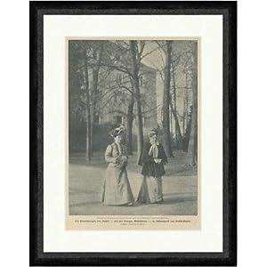 Kunstdruck Großherzogin von Baden mit Königin Wilhelmina im Schlosspark F_Vintage 01536