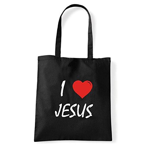 Art T-shirt, Borsa Shoulder I Love Jesus, Shopper, Mare Nero
