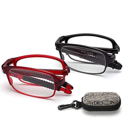 YOCC Faltbare Lesebrille Presbyopie bei älteren Brillen Brillen +1.0 bis + 3.0 Grad Visusminderung Optiker empfehlen, 2 Stck,+2.00