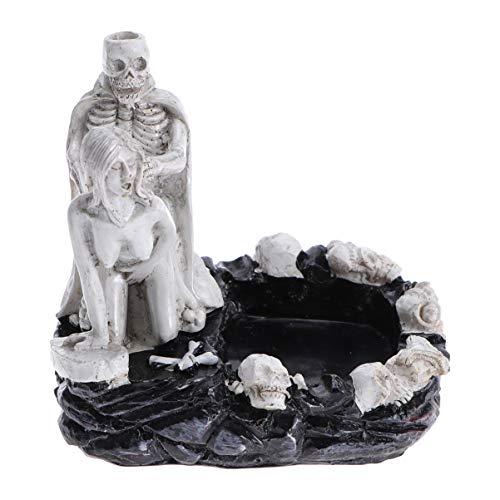 Healifty Cenicero de resina mujer y figura de esqueleto estatuas...