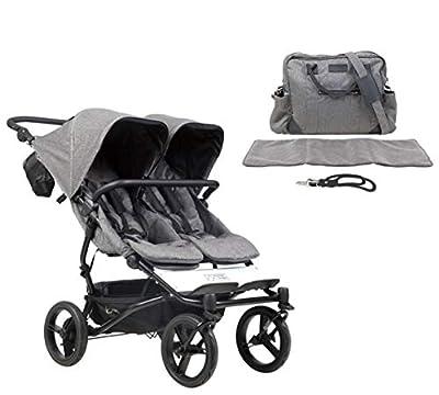 Mountain Buggy duet buggy V3 Luxury Collection - Carrito de bebé de dos plazas con bolso cambiador, diseño de espiga