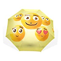Jeansame Cute Emoji Kids Cartoon Folding Compact Umbrella Sun Rain Manual Umbrellas for Women Men Kid Boy Girl