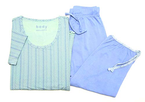Tchibo TCM Damen Schlafanzug mit 3/4 Hose Blau-Mint (40/42 M)