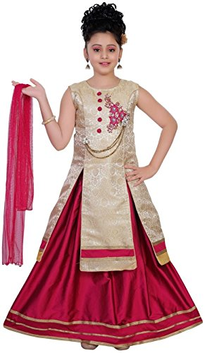 Saarah Girls Ethnic Wear Gold Color Self Design Lehenga, Choli and Dupatta...