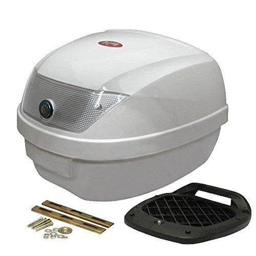 Topcase KXM 28L weiß lackiert incl. Befestigungsplatte Koffer für Scooter Roller Mofa - Je nach Charge wird der Reflektor in weiß oder rot geliefert