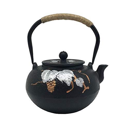 Traube Eisen (QINJLI Gusseisen Teekanne Traube Gürtel Filter Net japanische Besetzung Eisen-Teekanne Wasserkocher Tee Geschenk 1,3 L)