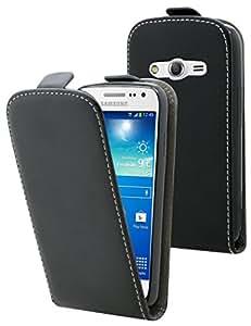 Etui Samsung Galaxy Ace 4 - Housse ultra fine noire avec coque de protection intégrée pour Samsung Galaxy Ace 4 . Interieur beige doux pour ne pas rayer l'écran de votre Samsung Galaxy Ace 4