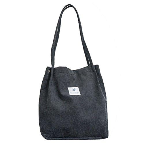 Fenical Umhängetasche Cord Snap Fastener Closure Canvas Bag Large Capacity Handtasche (Schwarz) Cord-snap
