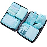 DoGeek - 7pack Organizer Valigia Cubi Organizzatori Organizzatori di Viaggio Cubi Imballaggio Cubi di Imballaggio Packing Cubes - Confezione da 7 taglie (8 pcs azzurro)