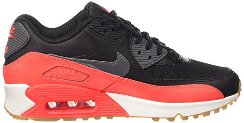 Nike Air Max 90 Essential, Chaussures de Sport Femme Noir (Black/Dark Grey-Brght Crmsn-Sl)