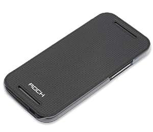 """ROCK Ultra Slim Premium Flip Ledertasche Schutzhülle """"Elegant"""" für HTC ONE Mini 2 in schwarz"""