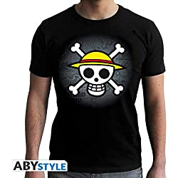 """ABYstyle - ONE PIECE - Tshirt """"Skull with map"""" homme - noir (M)"""