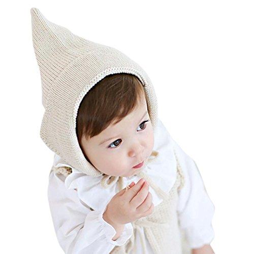 Babybekleidung Hüte & Mützen Longra Baby Mädchen Jungen Gestrickte häkeln Solid Beanie Strickmütze Herbst Winter Warm Strickmütze Baby Strick Hut Strickmütze(44-50cm, 0-2 years) (beige)