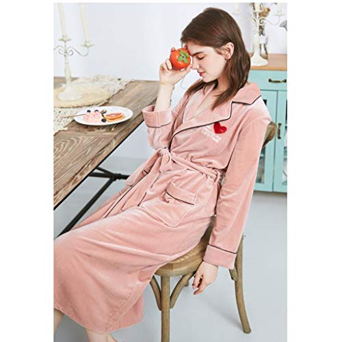 Vestaglia di lusso da donna, camicia da notte in velluto donna inverno caldo accappatoio housewear con tasca e cintura (colore : pink, dimensioni : m)