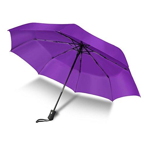 Paraguas a Prueba de Viento Auto Abrir Cerrar-210T Más Fino Reforzado Compacto de Secado Rápido Peso Ligero Plegable Viaje Paraguas Antideslizante Manejar para Hombres Mujeres (Morado)