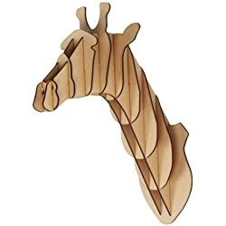 Grande/Pequeño, madera Jirafa trofeo cabeza de animal 3d Wall Art Kids – Home Decor para colgar en la pared, madera, large