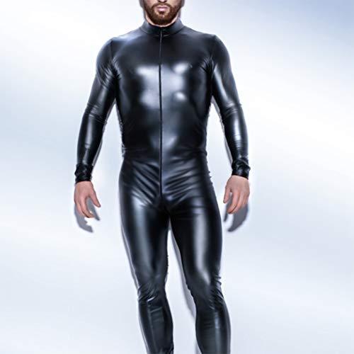 CoolTing S-5XLPatent Leder Reißverschluss Open Crotch Latex Catsuit Jumpsuit Sexy Dessous für Männer Erotische Kostüme Spandex Catsuit Bodysuit Clubwear,Black,M (Reißverschluss-spandex Bodysuit)